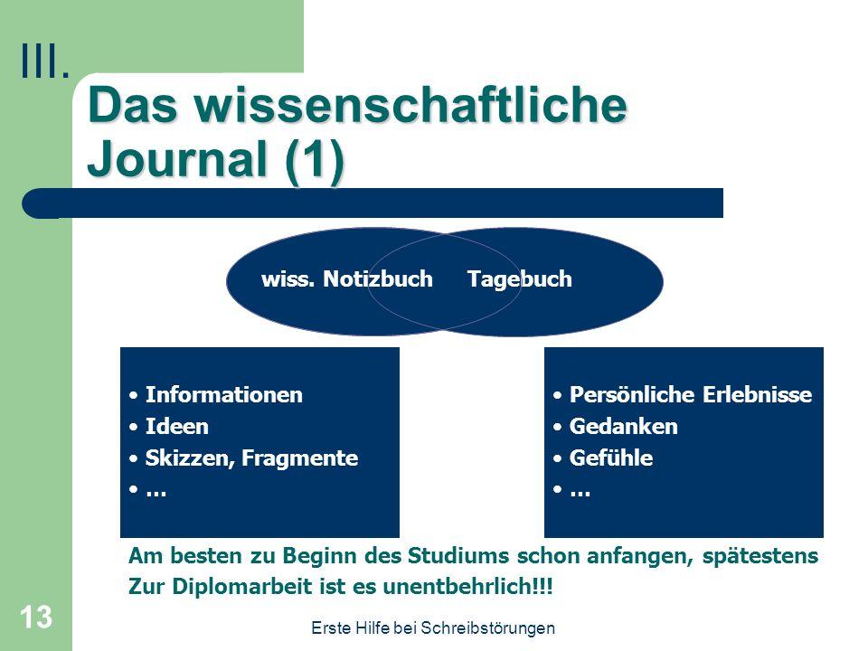 Das wissenschaftliche Journal (1)