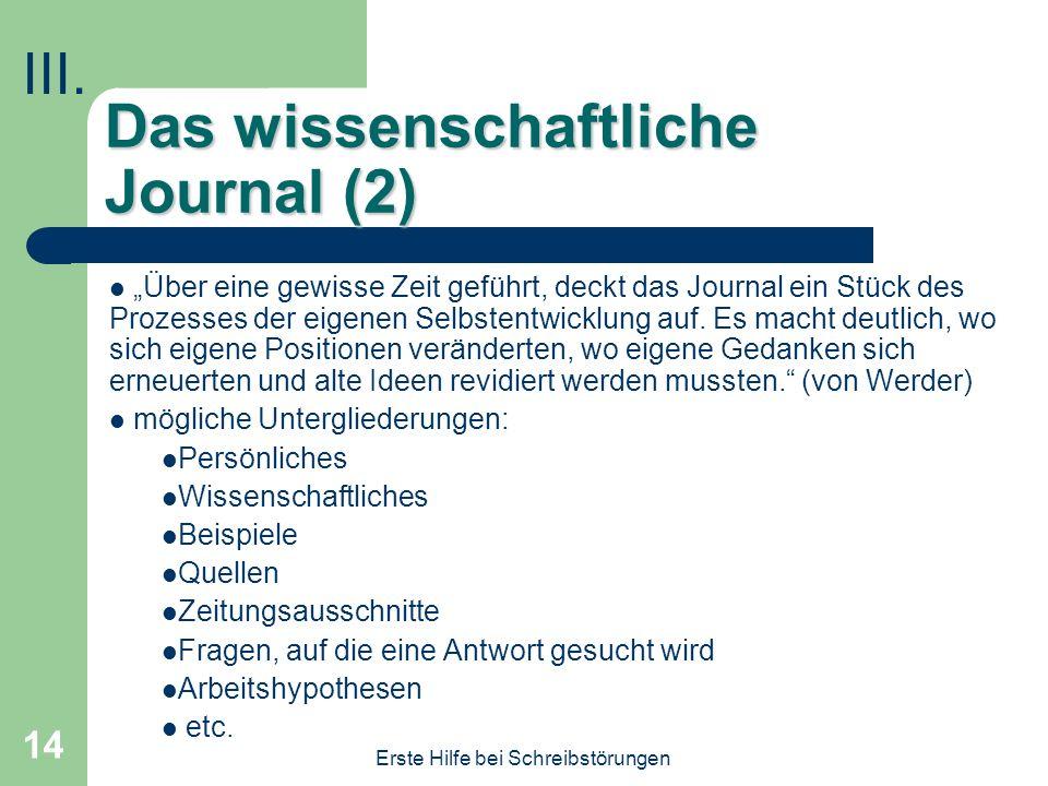 Das wissenschaftliche Journal (2)