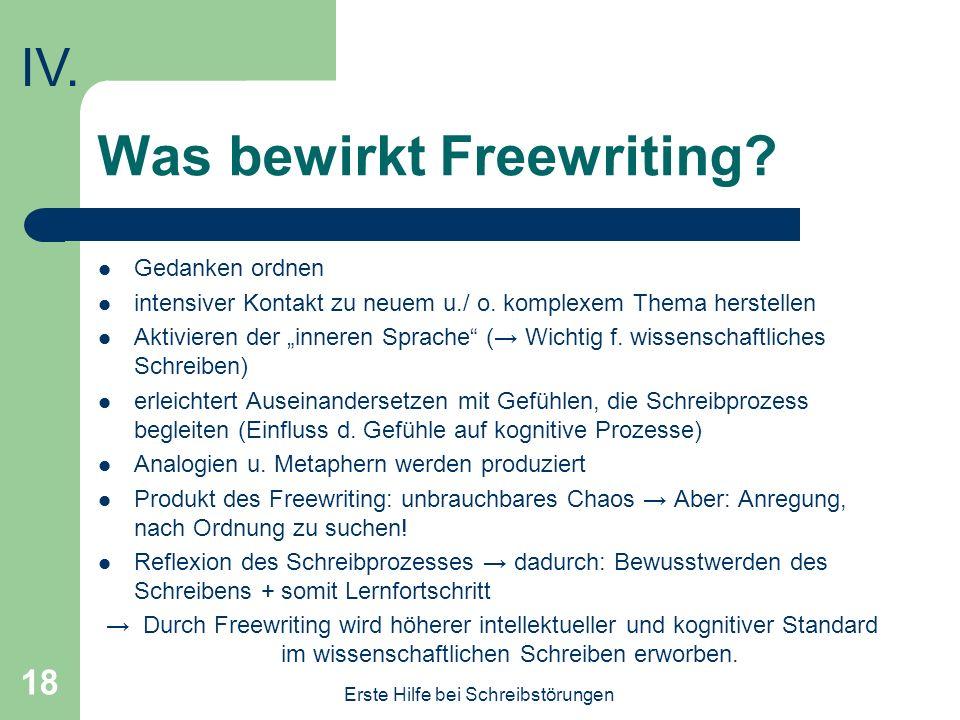 Was bewirkt Freewriting