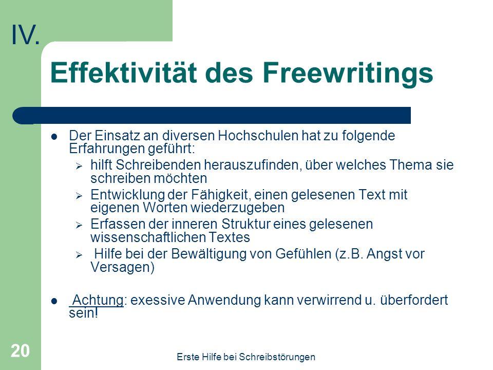 Effektivität des Freewritings