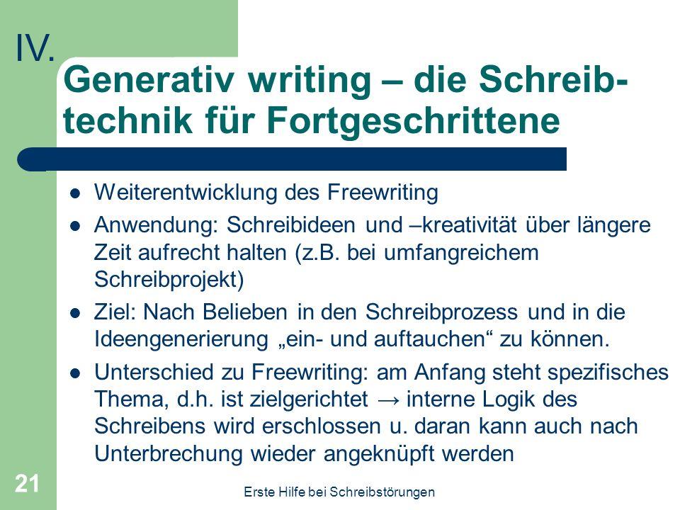 Generativ writing – die Schreib-technik für Fortgeschrittene