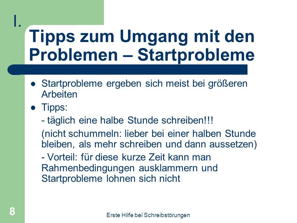 Tipps zum Umgang mit den Problemen – Startprobleme