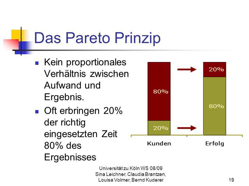 Das Pareto PrinzipKein proportionales Verhältnis zwischen Aufwand und Ergebnis. Oft erbringen 20% der richtig eingesetzten Zeit 80% des Ergebnisses.