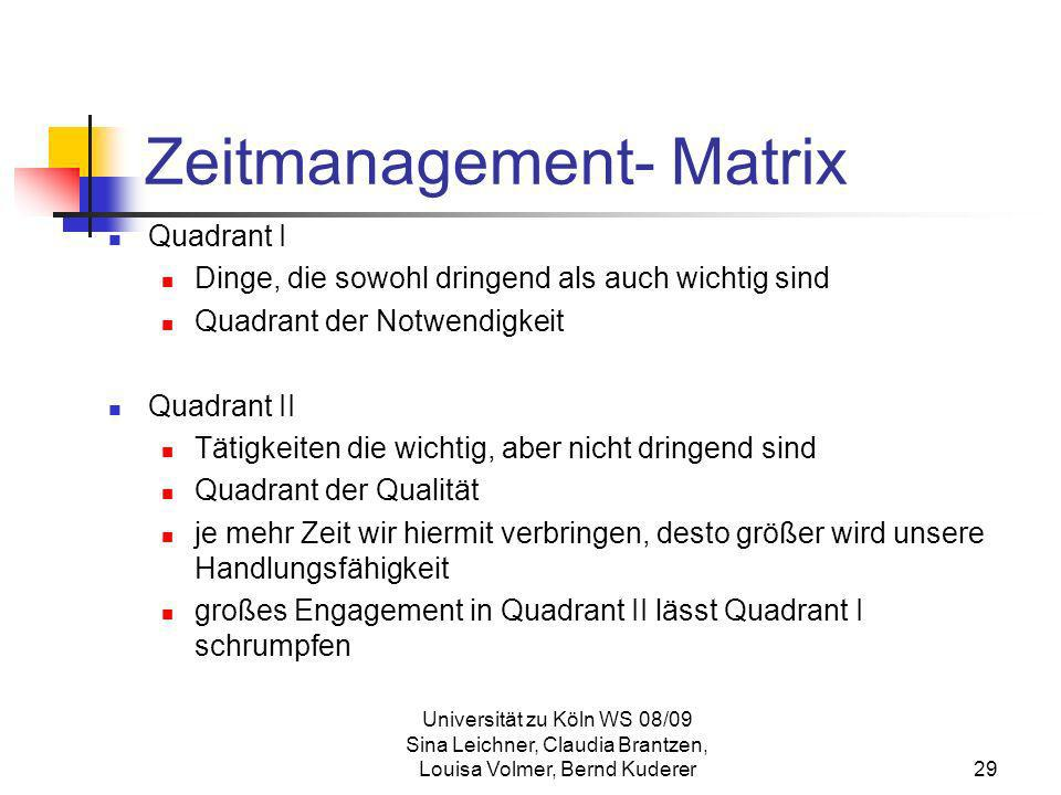 Zeitmanagement- Matrix