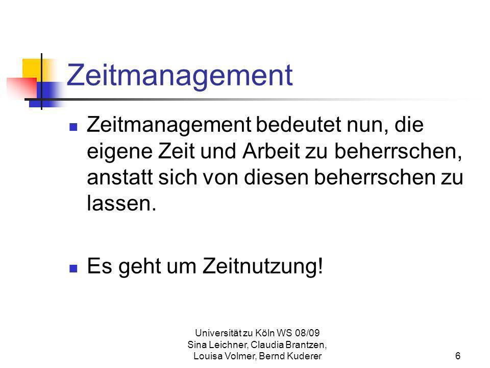 ZeitmanagementZeitmanagement bedeutet nun, die eigene Zeit und Arbeit zu beherrschen, anstatt sich von diesen beherrschen zu lassen.