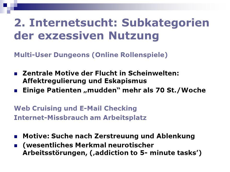 2. Internetsucht: Subkategorien der exzessiven Nutzung