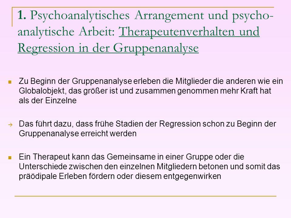 1. Psychoanalytisches Arrangement und psycho- analytische Arbeit: Therapeutenverhalten und Regression in der Gruppenanalyse
