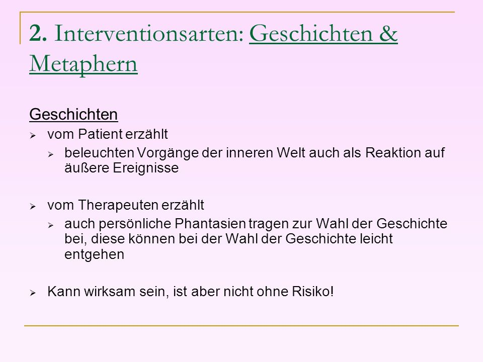 2. Interventionsarten: Geschichten & Metaphern