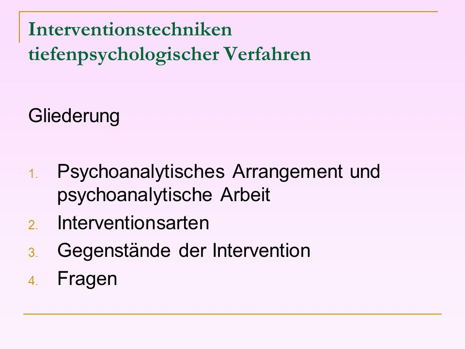 Interventionstechniken tiefenpsychologischer Verfahren