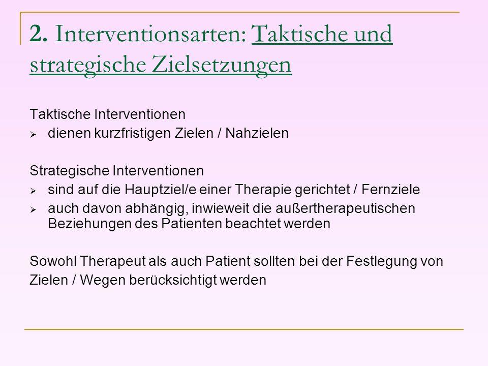 2. Interventionsarten: Taktische und strategische Zielsetzungen