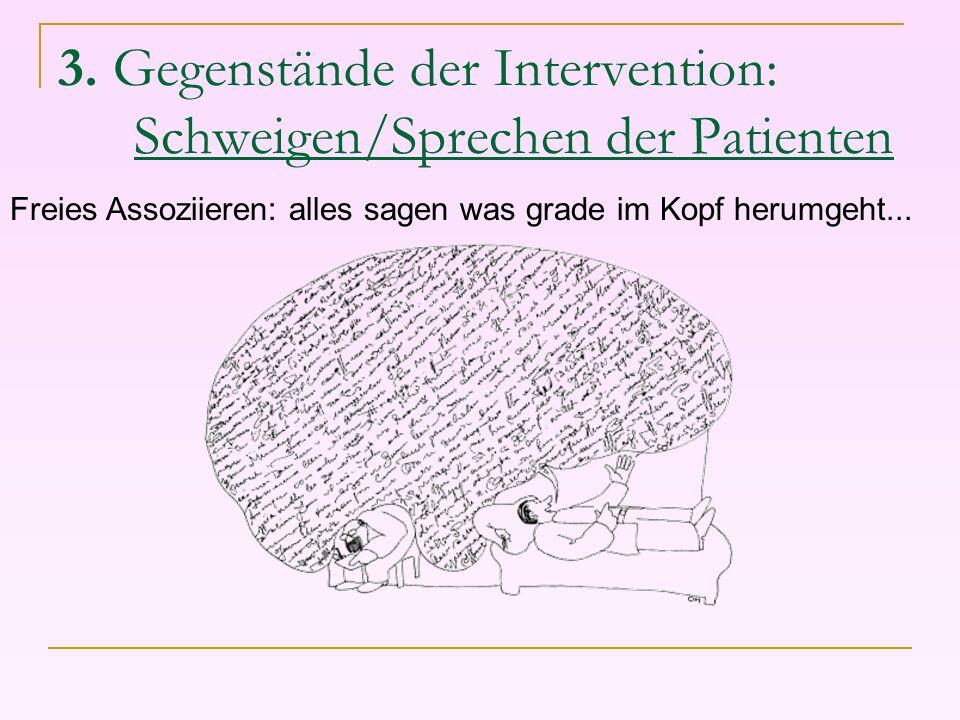 3. Gegenstände der Intervention: Schweigen/Sprechen der Patienten
