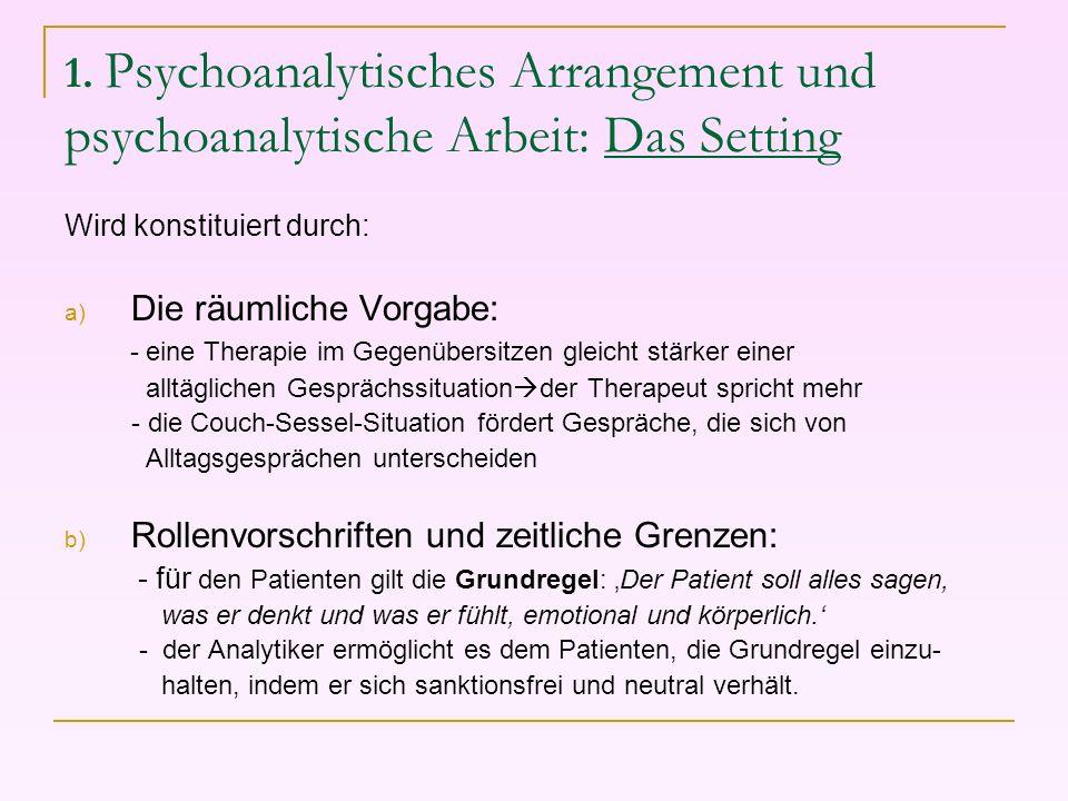 1. Psychoanalytisches Arrangement und psychoanalytische Arbeit: Das Setting