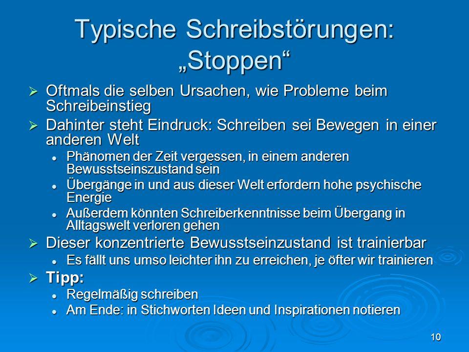"""Typische Schreibstörungen: """"Stoppen"""