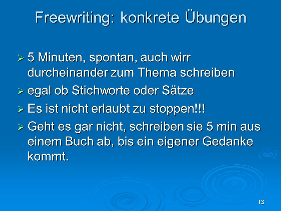 Freewriting: konkrete Übungen