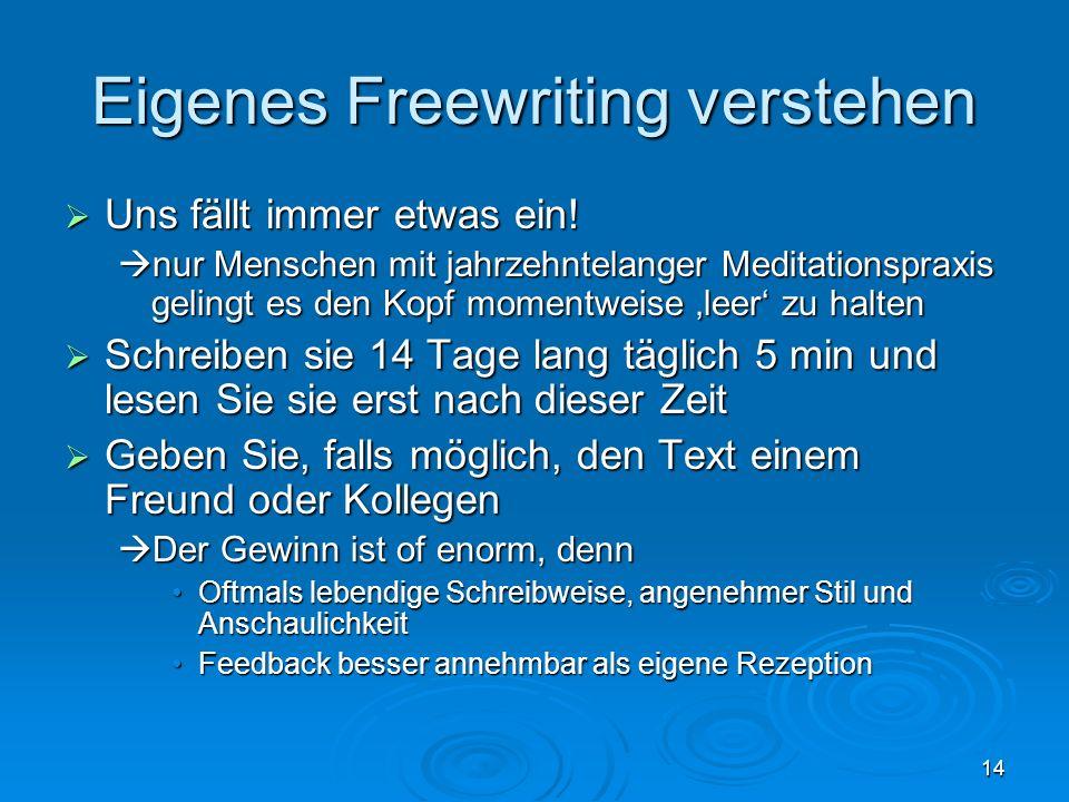 Eigenes Freewriting verstehen