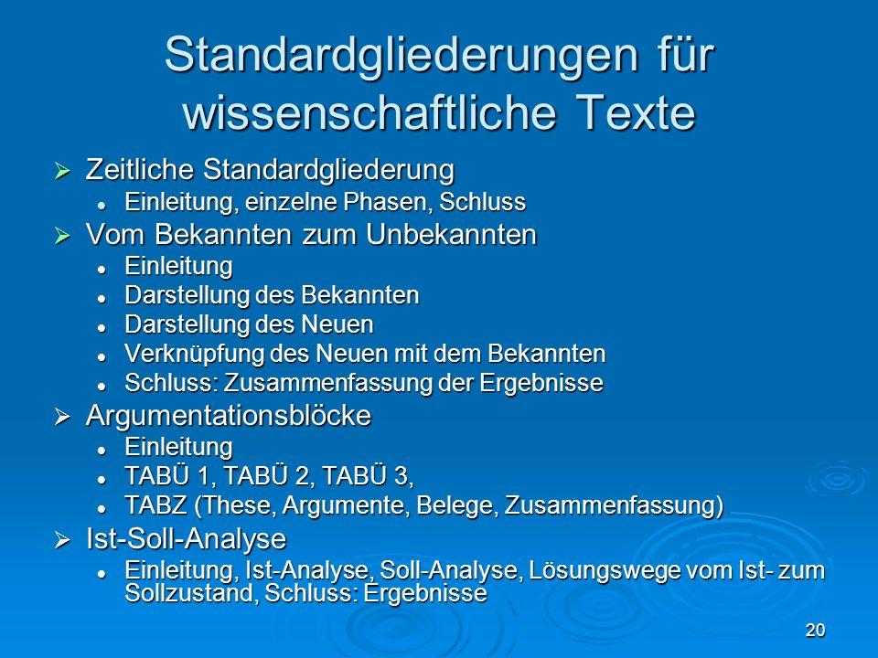 Standardgliederungen für wissenschaftliche Texte