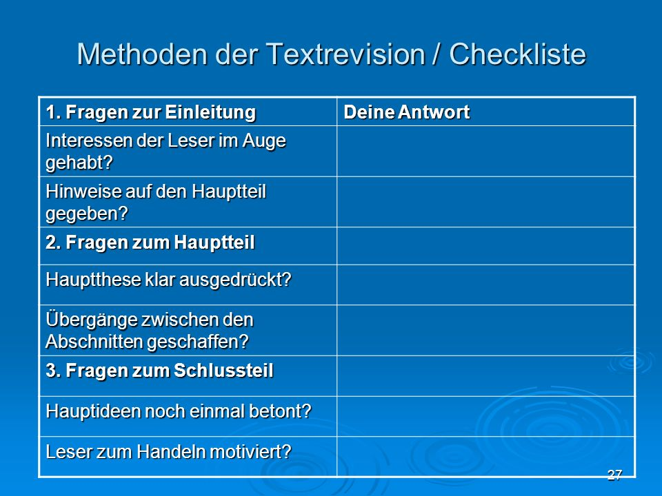 Methoden der Textrevision / Checkliste