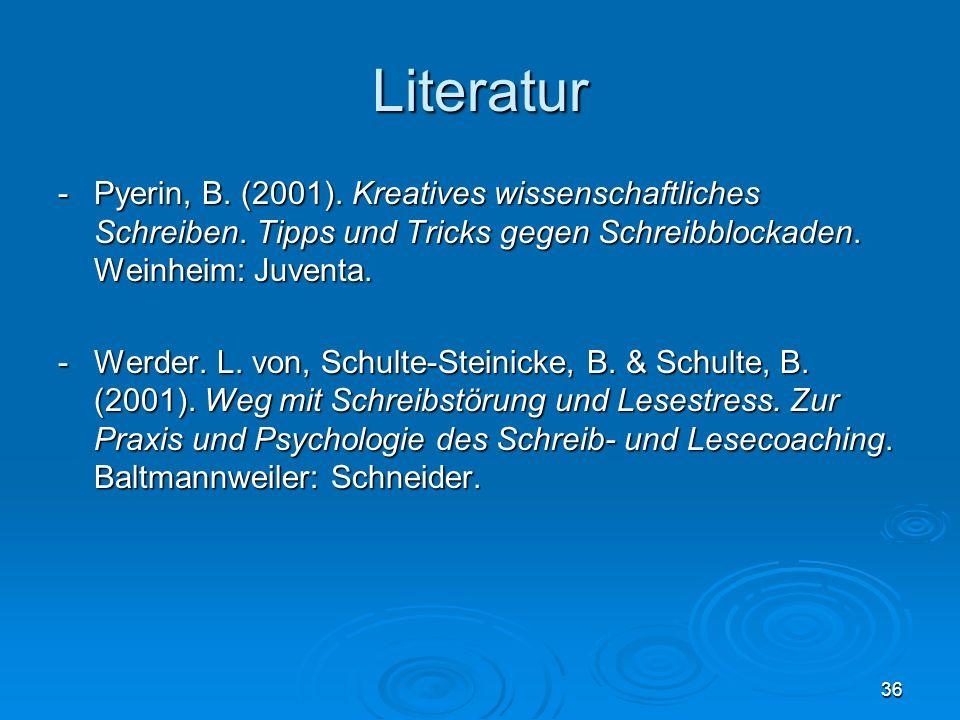 Literatur - Pyerin, B. (2001). Kreatives wissenschaftliches Schreiben. Tipps und Tricks gegen Schreibblockaden. Weinheim: Juventa.