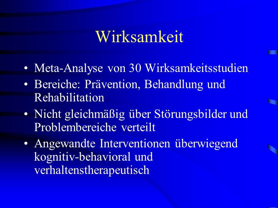 Wirksamkeit Meta-Analyse von 30 Wirksamkeitsstudien