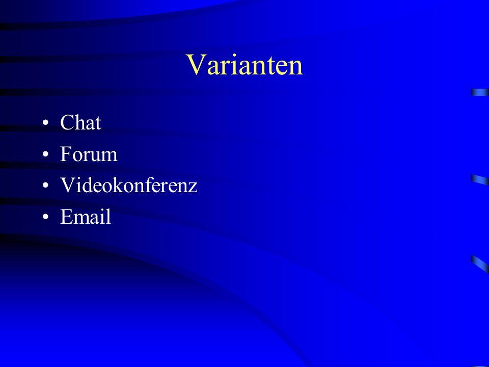Varianten Chat Forum Videokonferenz Email
