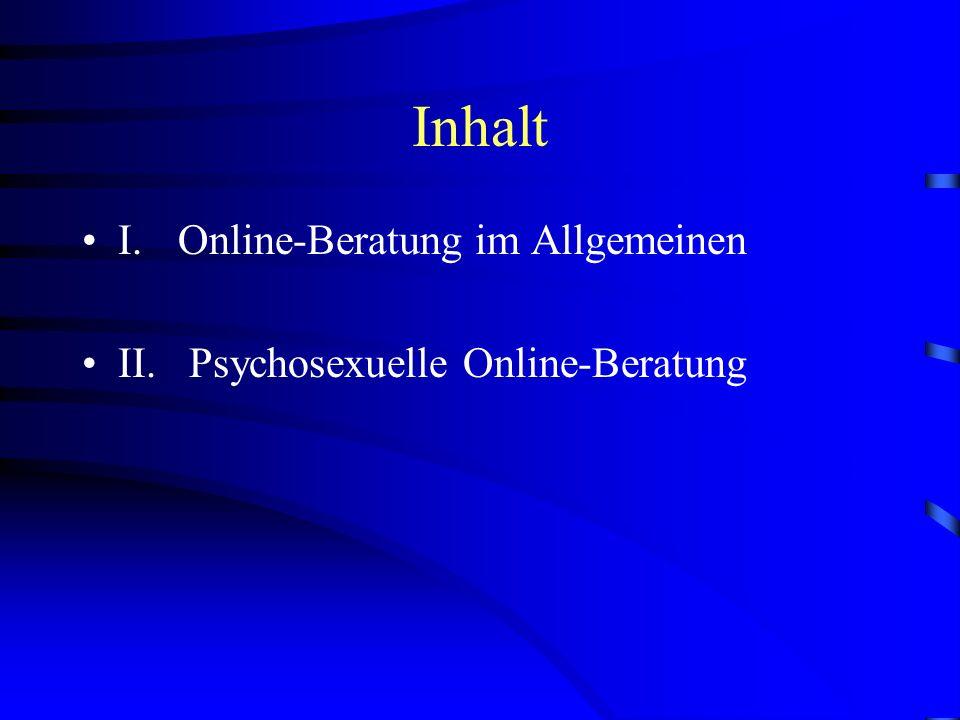 Inhalt I. Online-Beratung im Allgemeinen