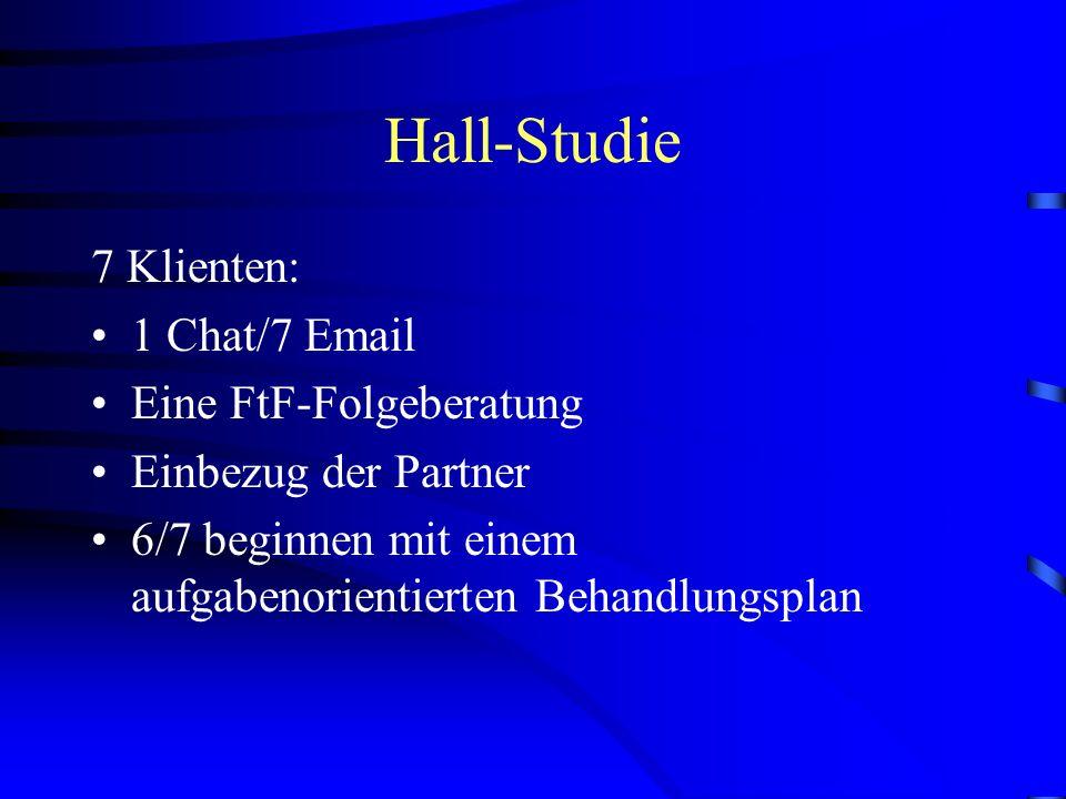 Hall-Studie 7 Klienten: 1 Chat/7 Email Eine FtF-Folgeberatung