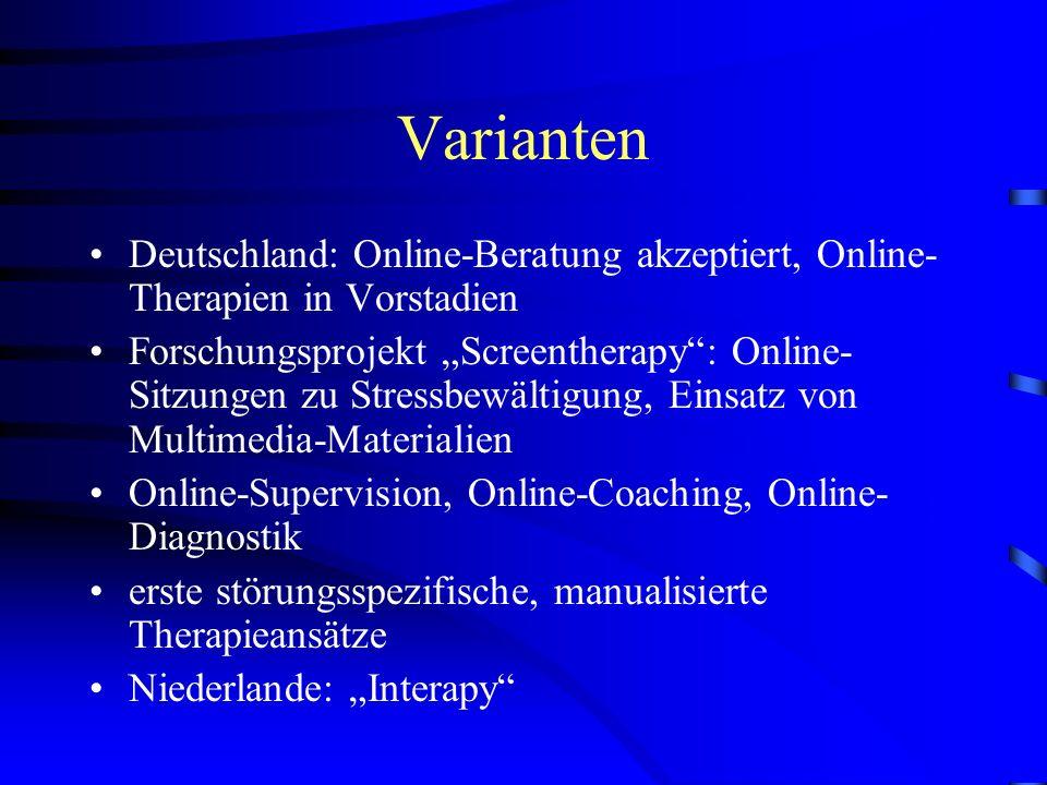 Varianten Deutschland: Online-Beratung akzeptiert, Online-Therapien in Vorstadien.