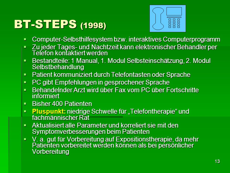 BT-STEPS (1998) Computer-Selbsthilfesystem bzw. interaktives Computerprogramm.