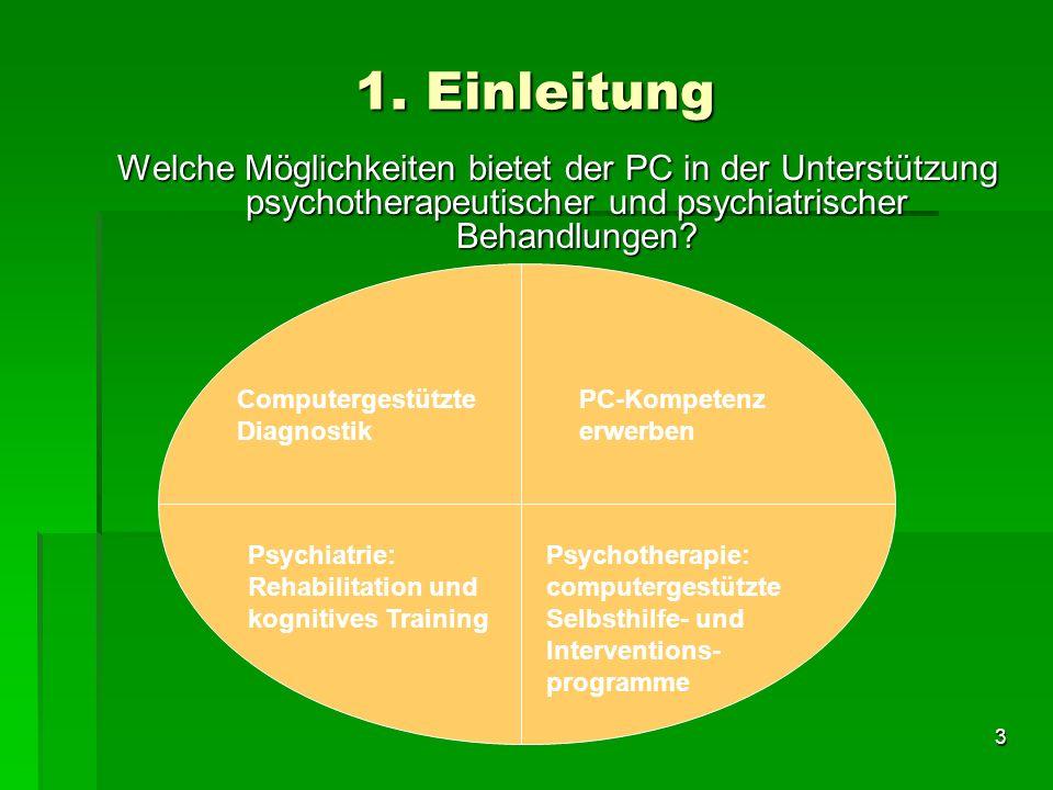 1. Einleitung Welche Möglichkeiten bietet der PC in der Unterstützung psychotherapeutischer und psychiatrischer Behandlungen
