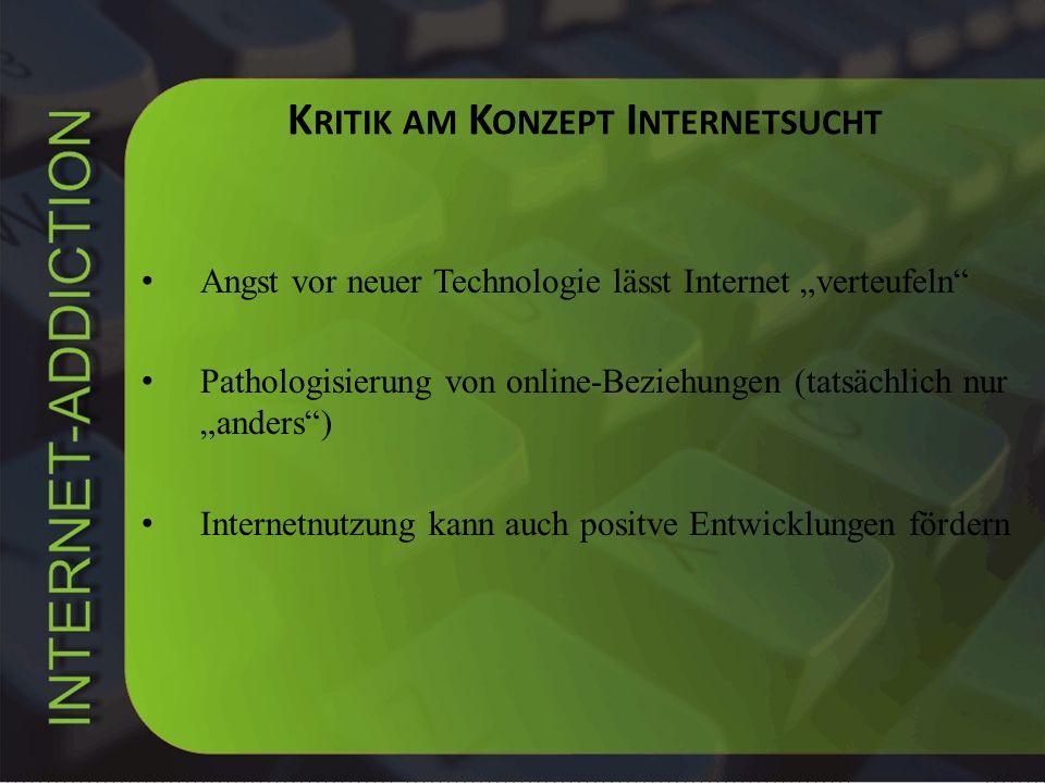 Kritik am Konzept Internetsucht