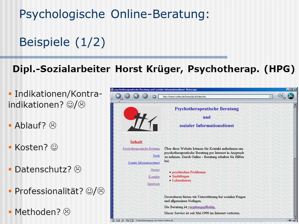Psychologische Online-Beratung: Beispiele (1/2)