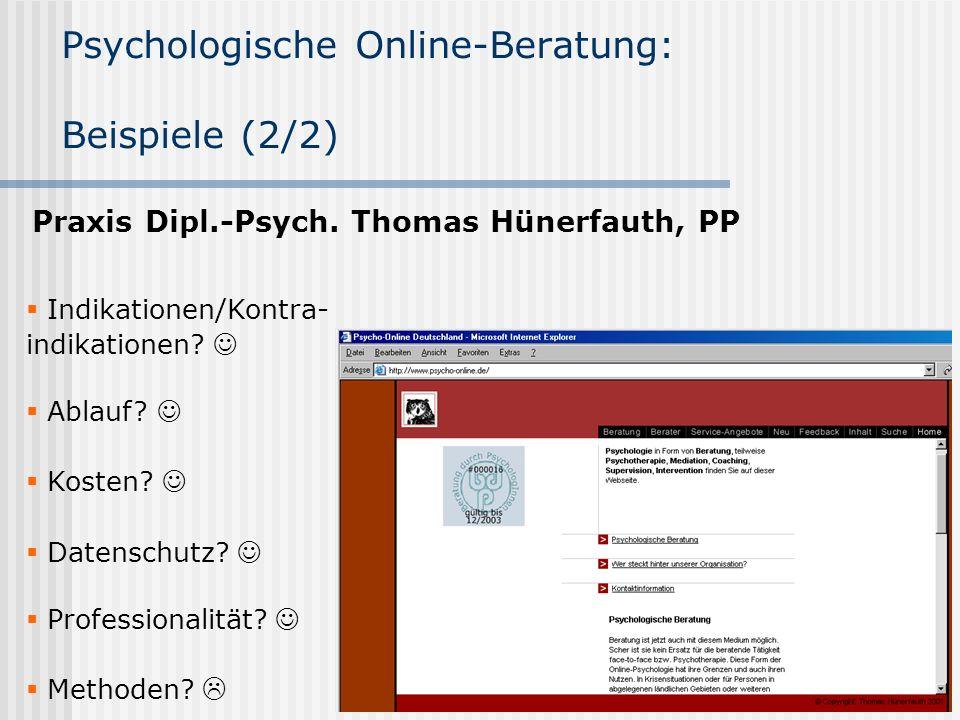 Psychologische Online-Beratung: Beispiele (2/2)