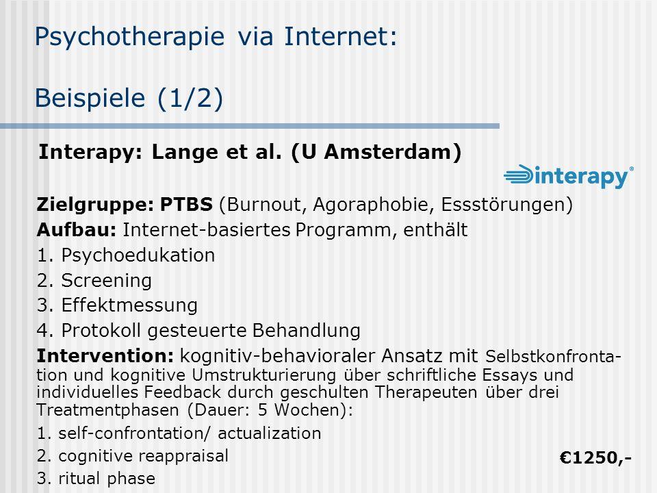 Psychotherapie via Internet: Beispiele (1/2)