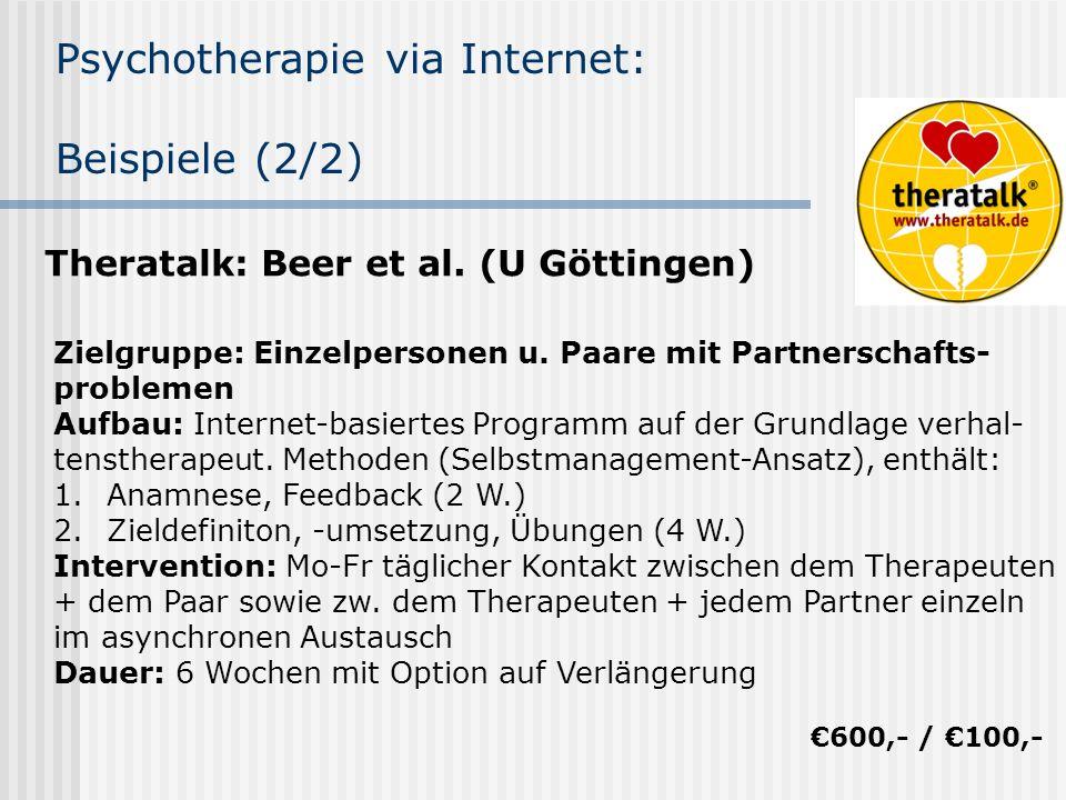 Psychotherapie via Internet: Beispiele (2/2)