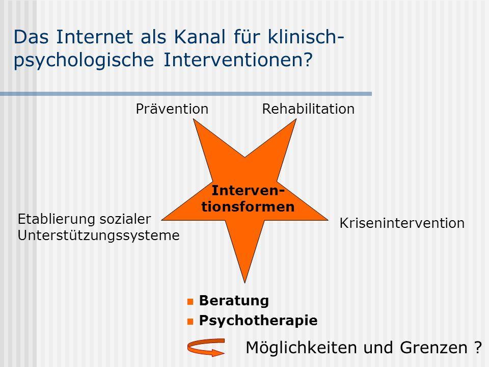 Das Internet als Kanal für klinisch-psychologische Interventionen