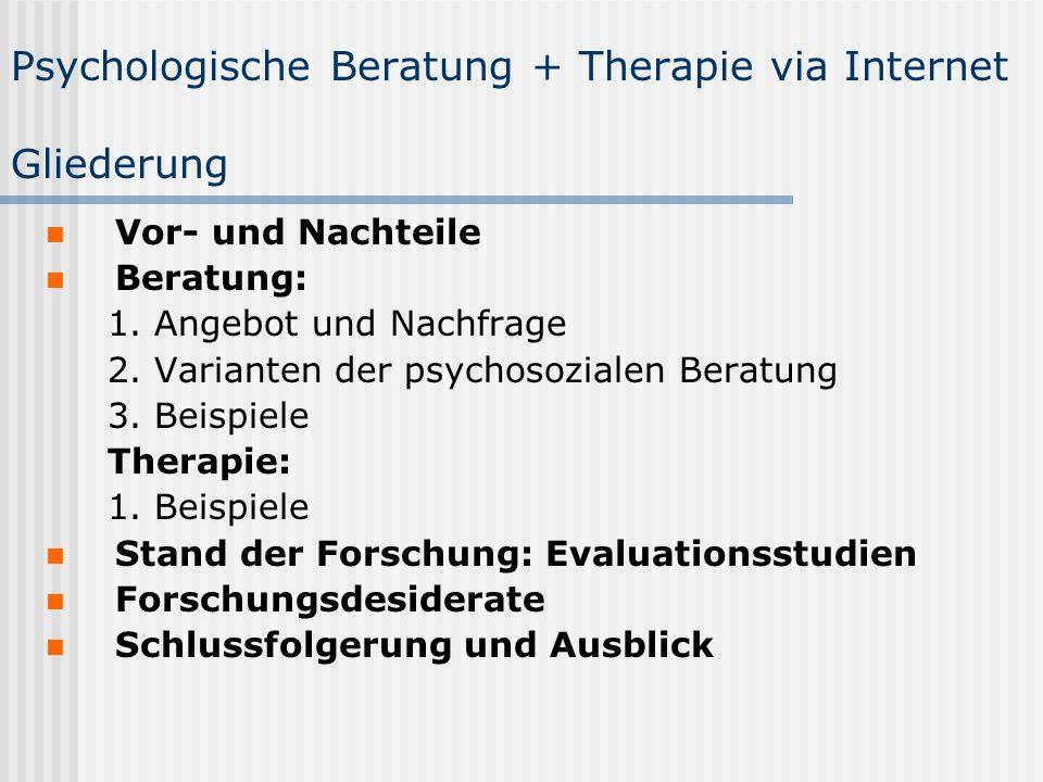 Psychologische Beratung + Therapie via Internet Gliederung