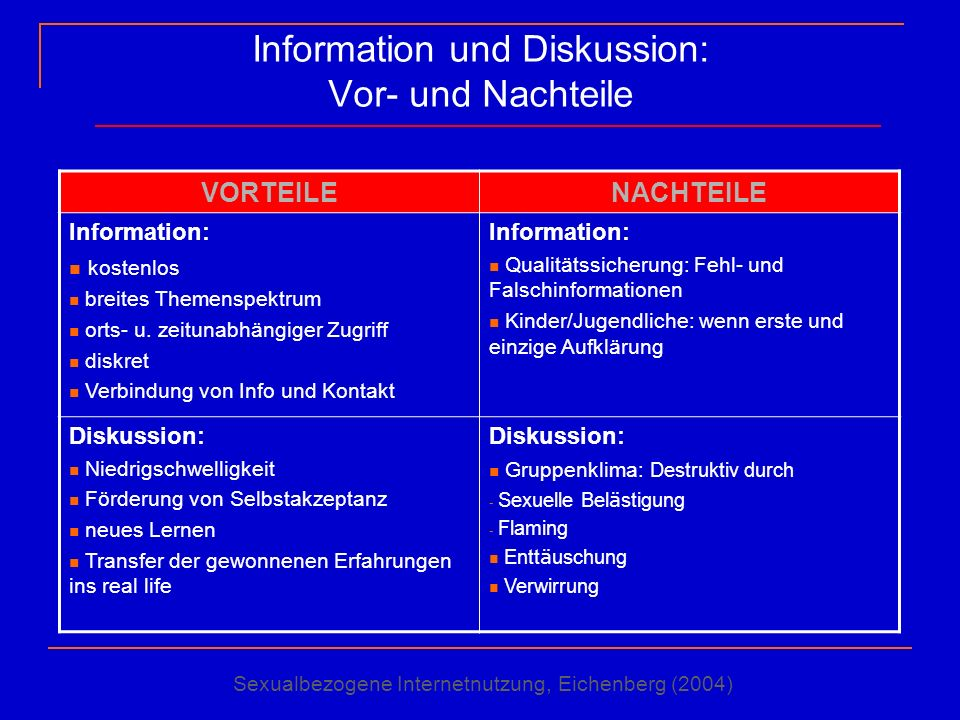 Information und Diskussion: Vor- und Nachteile