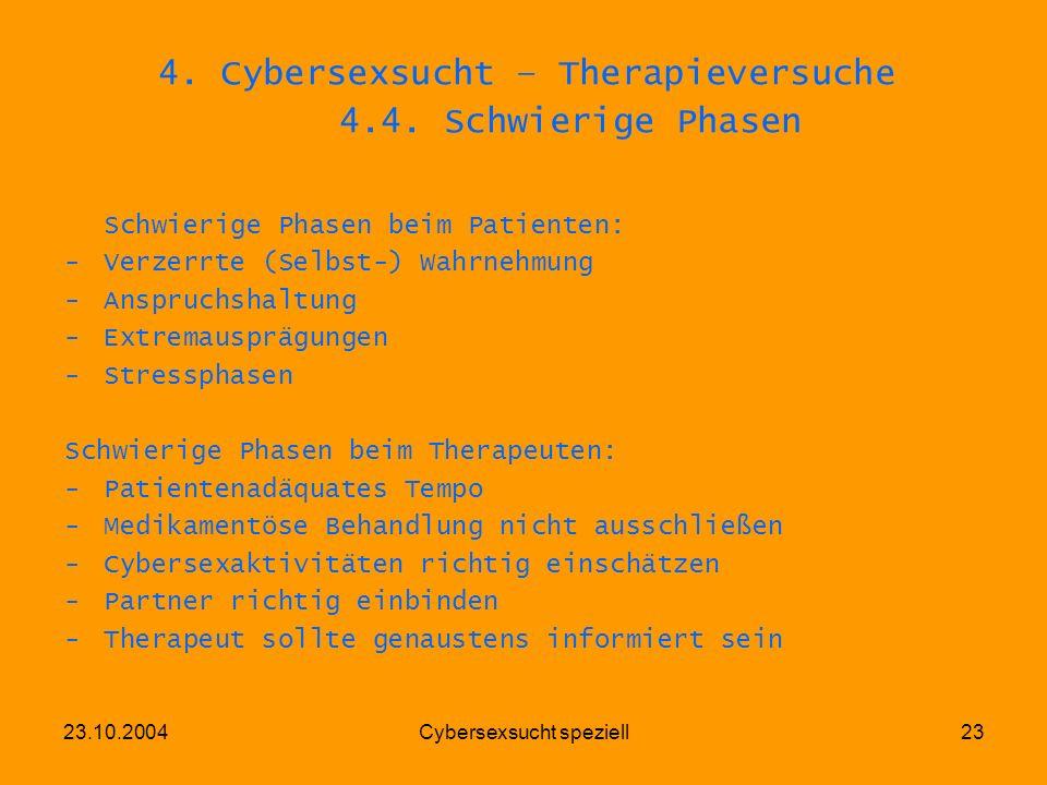 4. Cybersexsucht – Therapieversuche 4.4. Schwierige Phasen