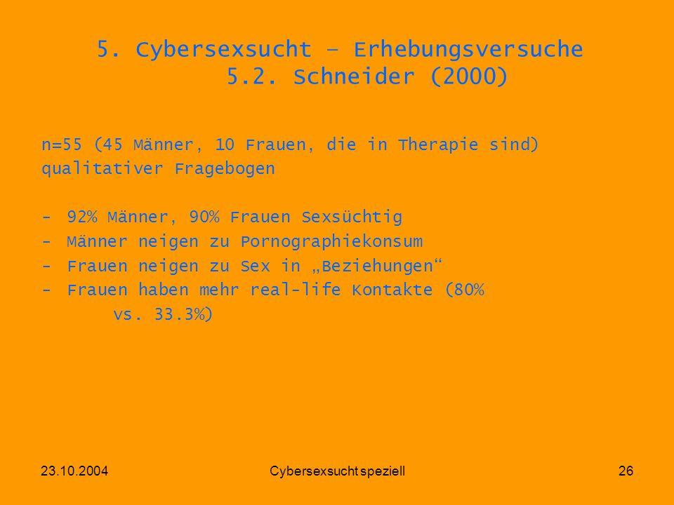 5. Cybersexsucht – Erhebungsversuche 5.2. Schneider (2000)