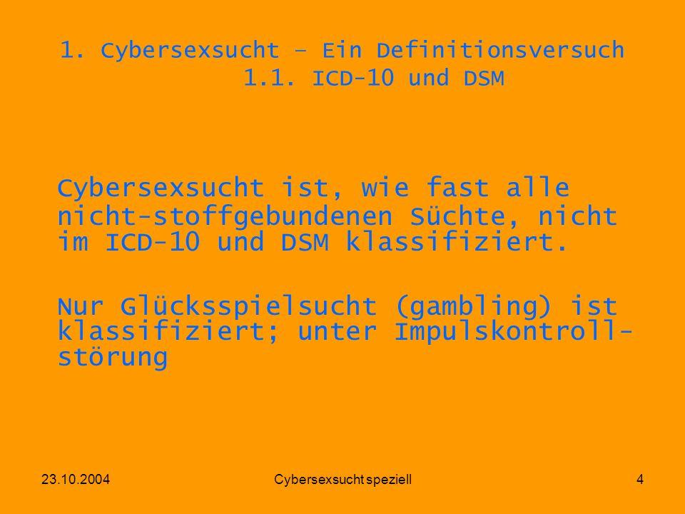 1. Cybersexsucht – Ein Definitionsversuch 1.1. ICD-10 und DSM