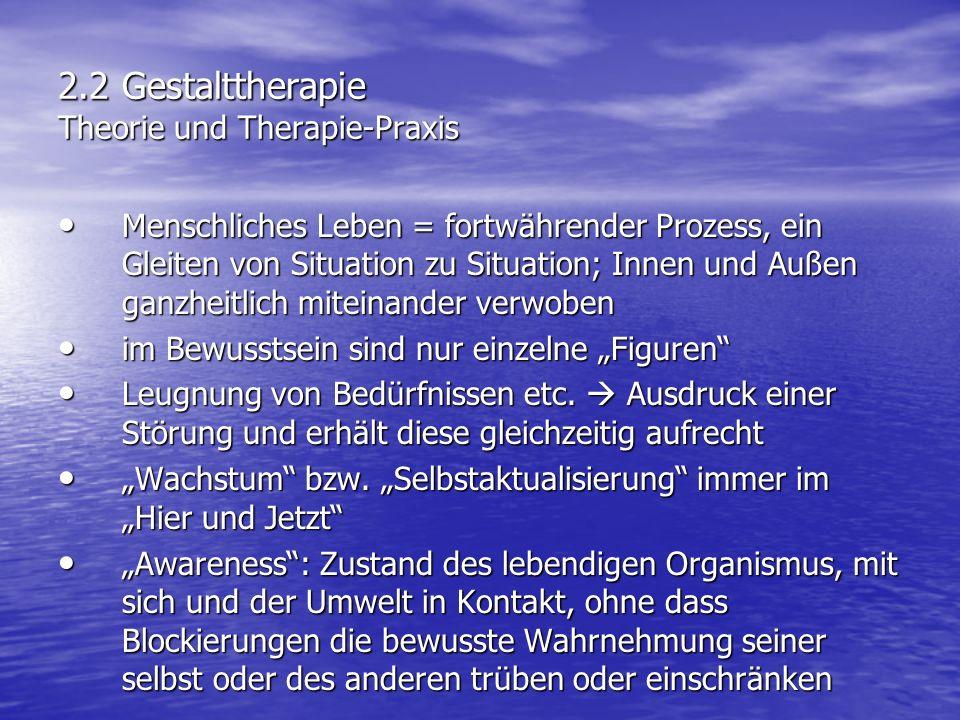 2.2 Gestalttherapie Theorie und Therapie-Praxis