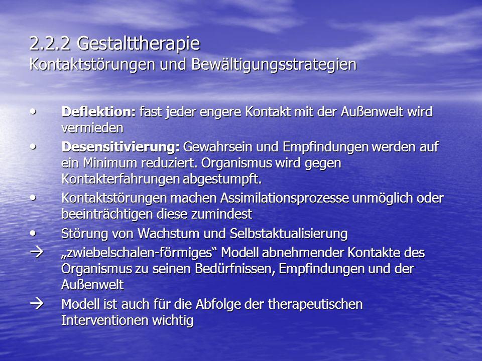 2.2.2 Gestalttherapie Kontaktstörungen und Bewältigungsstrategien