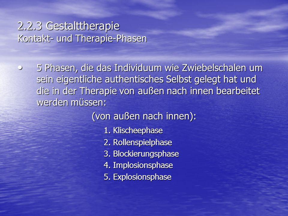 2.2.3 Gestalttherapie Kontakt- und Therapie-Phasen