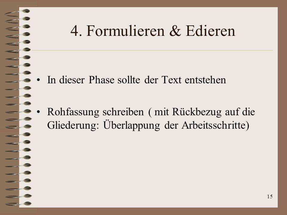 4. Formulieren & Edieren In dieser Phase sollte der Text entstehen