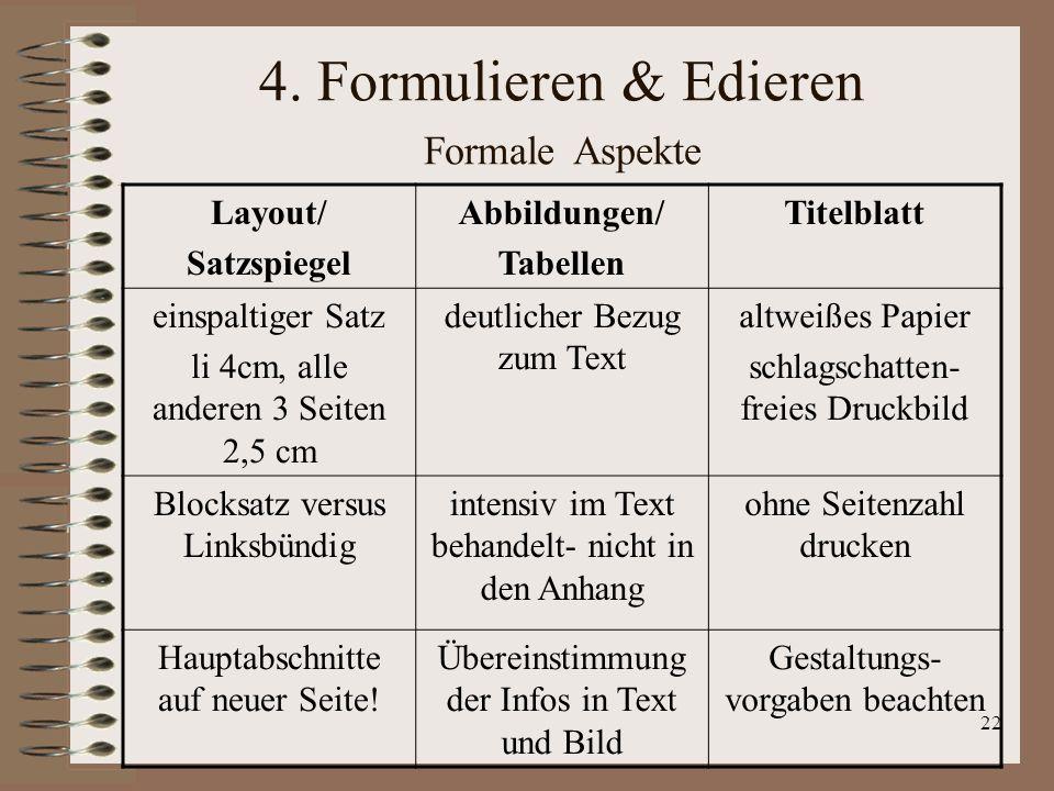 4. Formulieren & Edieren Formale Aspekte