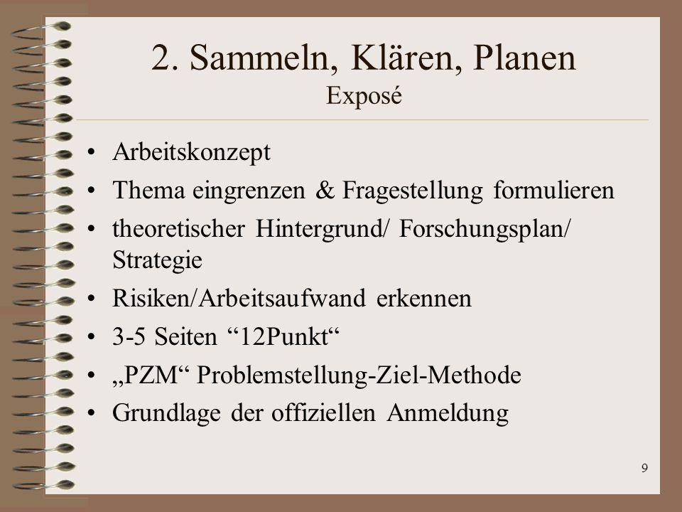 2. Sammeln, Klären, Planen Exposé