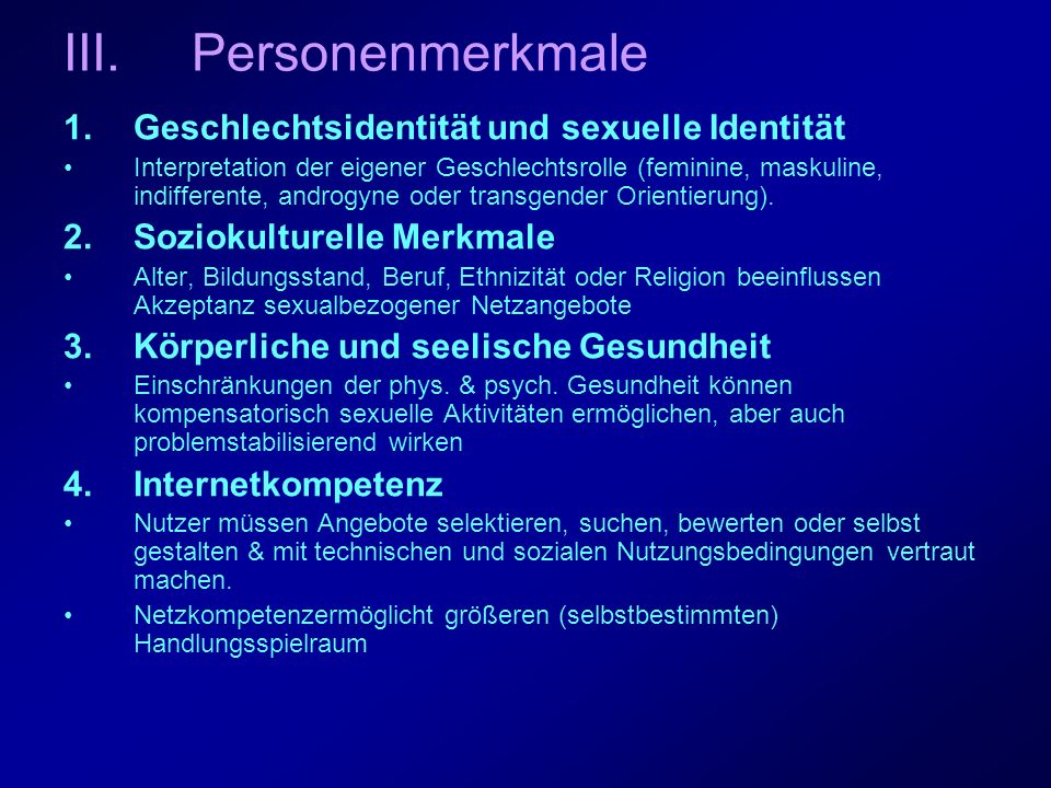 Personenmerkmale Geschlechtsidentität und sexuelle Identität