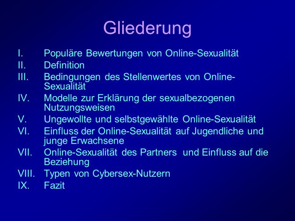 Gliederung Populäre Bewertungen von Online-Sexualität Definition