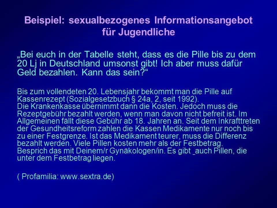 Beispiel: sexualbezogenes Informationsangebot für Jugendliche