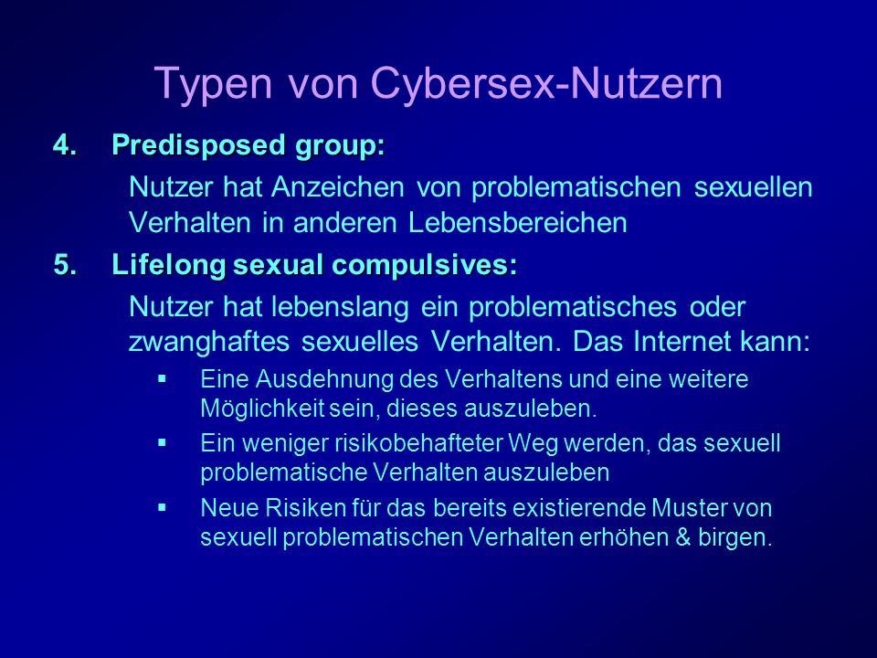 Typen von Cybersex-Nutzern